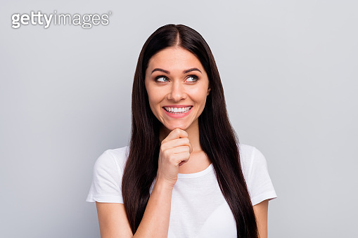Close-up portrait of her she nice-looking attractive lovely cute pretty charming curious creative cheerful cheery straight-haired girl creating plan isolated over light gray pastel color background