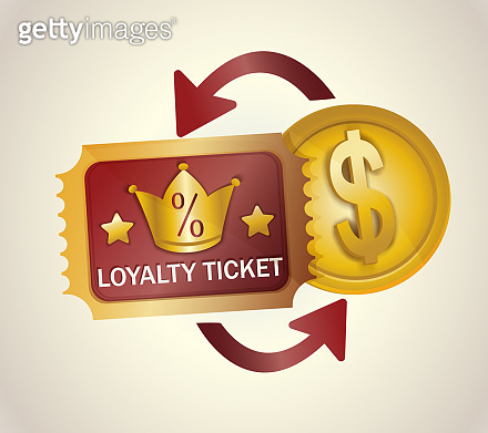 Loyalty program ticket  vector icon. Discount or bonus card with percent signs and crown. Promotion and saving money while shopping