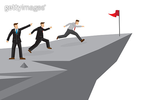 Businessman leads his team by showing direction to his team members of their future/goal. Creative cartoon vector illustration.