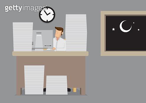 Overworked Vector Cartoon Illustration