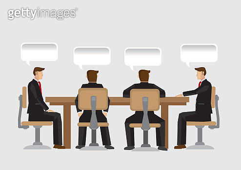 Discussion in Business Meeting Vector Illustration