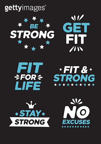 Collection of labels and symbols for fitness or gym.