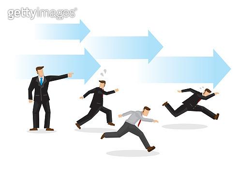 Boss demands his employees to reach their target/goal. Creative cartoon vector illustration.