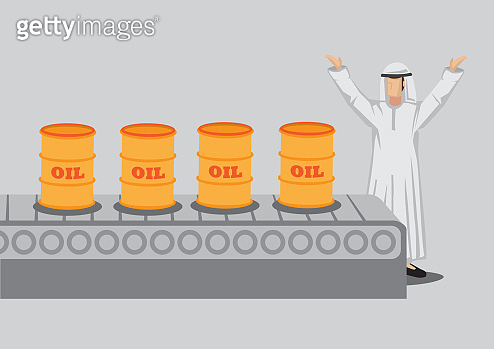 Arab Man and Oil Production Factory Cartoon Vector Illustration