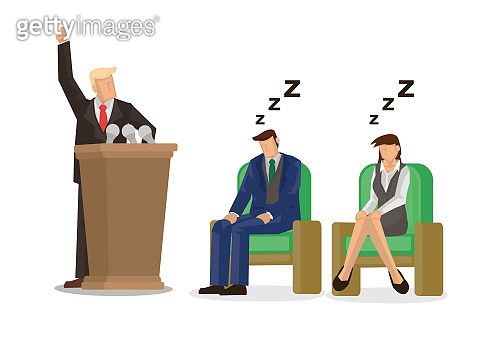 Politician businessman making speech in front of a group of sleeping crowd. Concept of election or announcement.