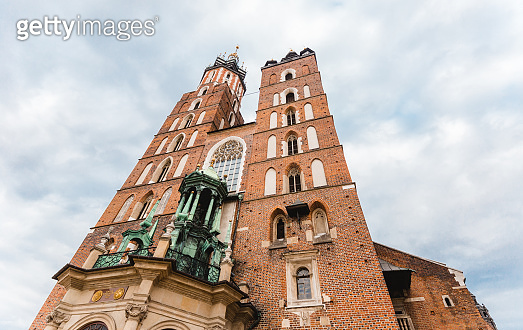 St. Mary's basilica in main square of Krakow. Poland's historic center, a city with ancient architecture. Cracow, Poland.