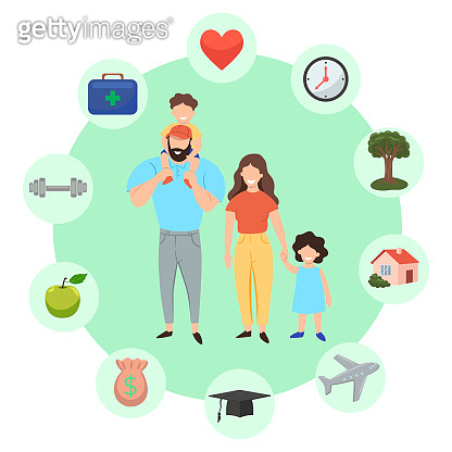 Family infographics. Successful family icon set. Vector graphics