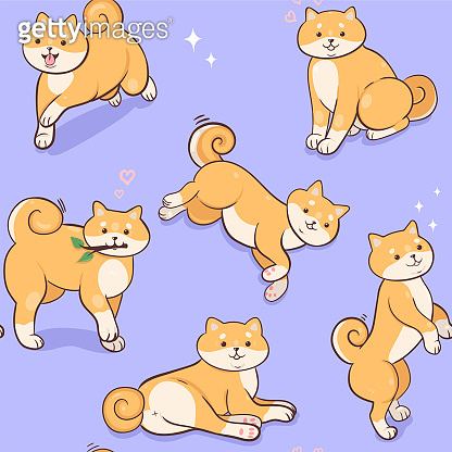 Seamless pattern with shiba inu. Vector graphics.