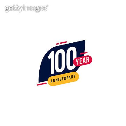 100 Years Anniversary blue yellow Vector Template Design Illustration