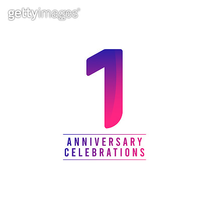 1 Years Anniversary Celebrations Vector Template Design Illustration