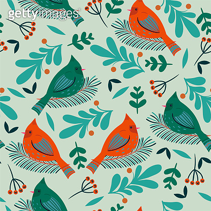 Seamless pattern with winter birds and flora. Vector graphics.
