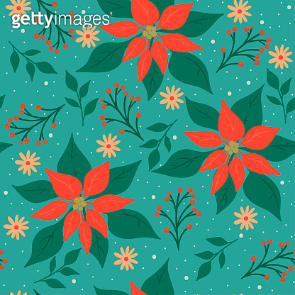 Seamless Christmas pattern with winter flora. Vector graphics.