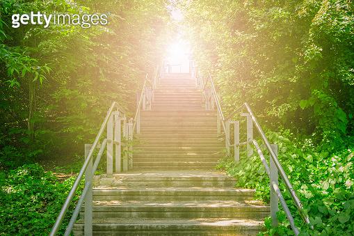 Upward stairs ascending to the brightness of sunlight