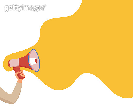 Megaphone announcement vector cartoon style illustration with speech bubble.