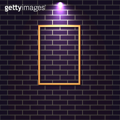 Brick wall with a lighted frame, vector illustration.