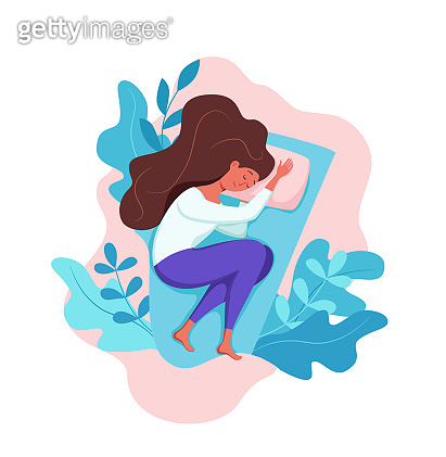 Woman sleep in bed at night vector illustration. Girl in pajama having a sweet dream in bedroom.