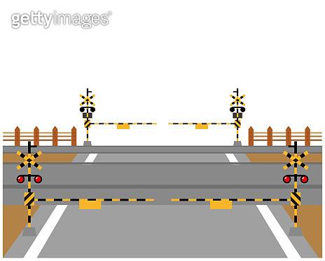 Railroad crossing vector illustration .