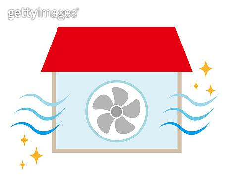 Vector illustration promoting ventilation of room air .
