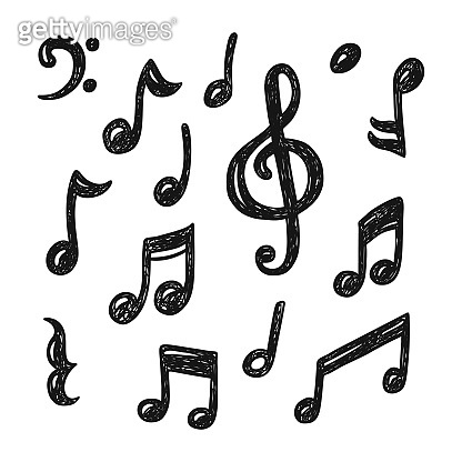 Set of hand drawn music note doodles