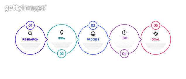 Business process infographic template with 5 options or steps. Thin line design. Vector illustration graphic design
