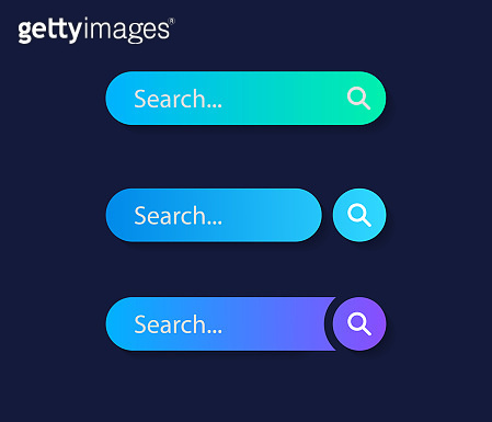Set Search bar. Web ui design element for web site or browsers. Text field and search button. Vector illustration graphic design