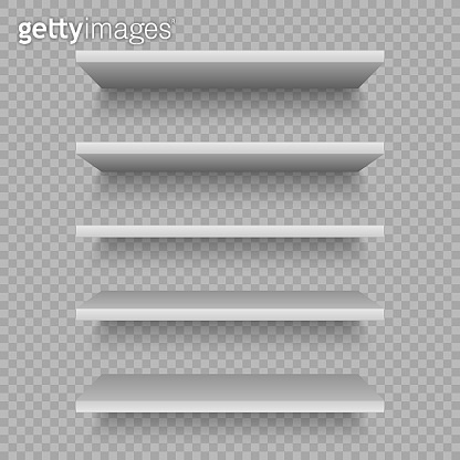 White shop shelves for product. Blank empty showcase. realistic bookcase store rack, shopping merchandise market products racks. Vector illustration mockap
