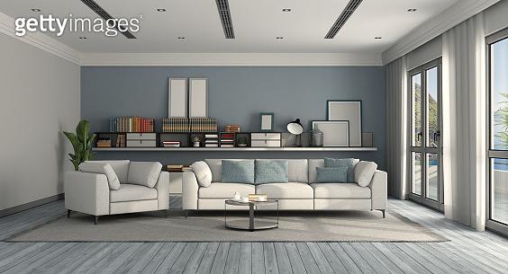 White and blue modern living room