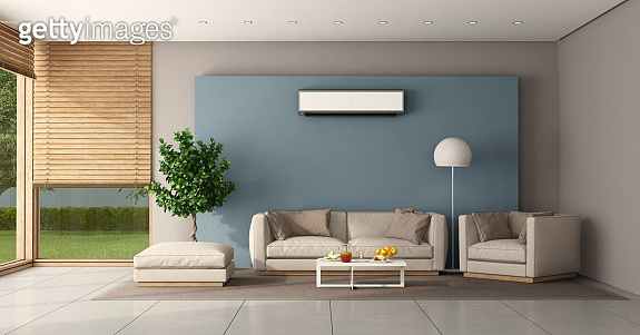 Minimalist living room with air conditioner