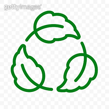 Biodegradable recyclable label, plastic free vector icon. Eco safe bio recyclable, degradable package stamp, green leaf recycle logo