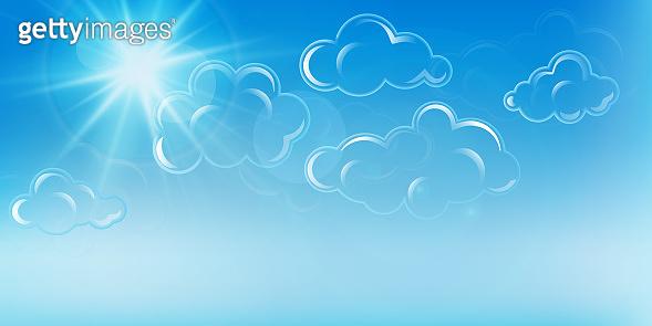 Blue sky sun background. Clear summer nature, sunlight weather. White glow sunrise,  heaven. Bright sparkle burst. Esp10