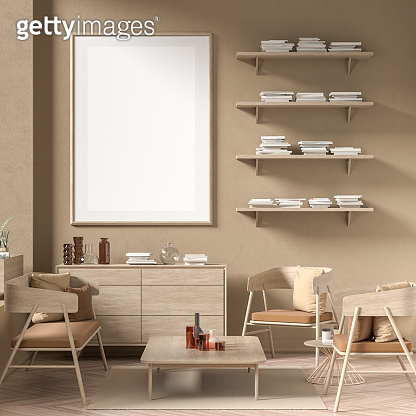 Mock up poster frame in Scandinavian style interior with wooden furnitures. Minimalist interior design. 3D illustration.