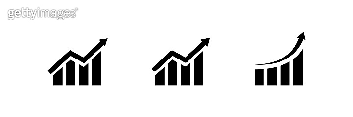 Graph growing up vector icon. economy graphic growth arrow rise. market chart sign isolated on white background. development forecast plan stock illustration