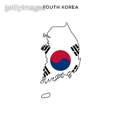 South Korea map with flag vector stock illustration design template. Editable stroke.