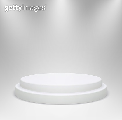 Realistic white round podium in studio lighting. 3d pedestal or platform for product showcase on a gray background.