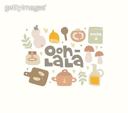Hand drawn illustration and lettering Ooh la la