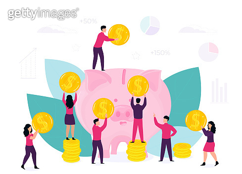 Saving Money concept. Tiny people characters around big piggy bank with golden coins. Vector flat design for business, technology, finance.