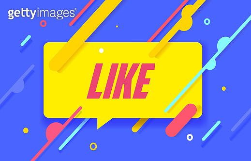 LIKE in design banner. vector template for web, print, presentation . Simple banner with minimal phrase. Trendy flat geometric print. Creative vector stock decoration.