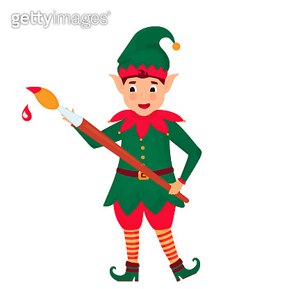 Funny elf with a paint brush. Vector illustration. Cartoon character.
