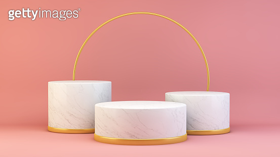 Promotion storefront on marble, pink and gold