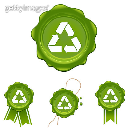 Vector wax stamp with recycle symbol set