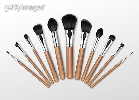 Set of Makeup Concealer Powder Blush Brow Brushes