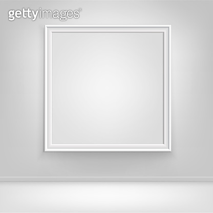 Vector Empty White Poster Picture Frame on Wall