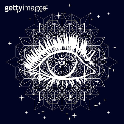 Mystical illustration with an eye. Suitable for illustrating mysterious phenomena, esotericism, horoscopes, mysticism, sacred knowledge.