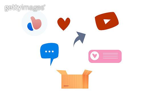Vector social media symbols icon set like heart