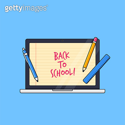 laptop with paper line screen background and student tools vector illustration for back to school online class distant education concept