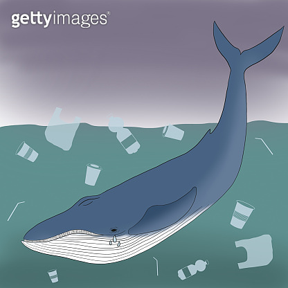 Stop ocean plastic pollution. Illustration of whale swims through floating garbage. Save earth, sustainability and environmental care concept.