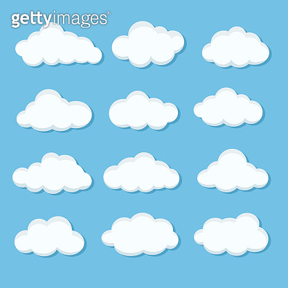 Set of different white cloud icons on blue sky for design elements, stock vector illustration
