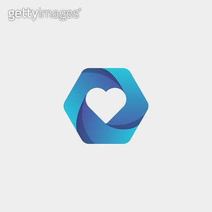 dating love hexagon gradient vector illustration icon element isolated