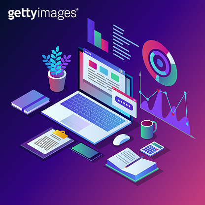 Data analysis. Digital financial reporting, seo, marketing. Business management, development. 3d isometric laptop, computer, pc with graph, chart, statistic.