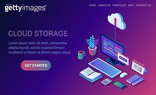 Cloud storage technology. Data backup. 3d isometric computer, pc with mobile phone isolated on background. Hosting service for website. Vector design for banner